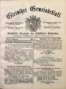 Gleiwitzer Gemeindeblatt, 1911, Jg. 2, Nr. 1