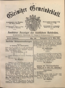 Gleiwitzer Gemeindeblatt, 1911, Jg. 2, Nr. 10