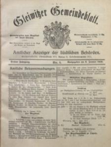 Gleiwitzer Gemeindeblatt, 1912, Jg. 3, Nr. 1