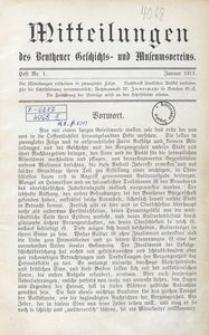 Mitteilungen des Beuthener Geschichts- und Museumsvereins, 1911, Heft Nr. 1