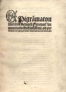 Epigra[m]maton libri tres [...] ad [...] Georgiu[m] Koeler Vratislavu[m] iam primu[m] in luce[m] editi