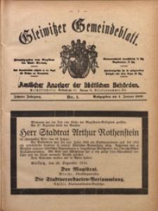 Gleiwitzer Gemeindeblatt, 1919, Jg. 10, Nr. 1