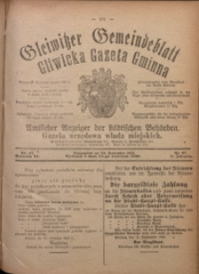 Gleiwitzer Gemeindeblatt. Gliwicka Gazeta Gminna, 1920, Jg. 11, Nr. 67