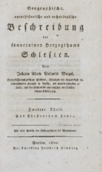 Geographische, naturhistorische und technologische Beschreibung des souverainen Herzogthums Schlesien. 2. Theil, Das Fürstenthum Jauer