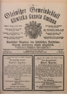 Gleiwitzer Gemeindeblatt. Gliwicka Gazeta Gminna, 1921, Jg. 12, Nr. 57