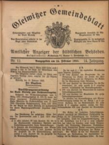 Gleiwitzer Gemeindeblatt, 1923, Jg. 14, Nr. 12