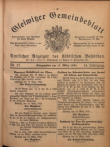 Gleiwitzer Gemeindeblatt, 1923, Jg. 14, Nr. 17