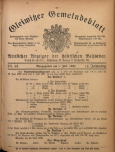 Gleiwitzer Gemeindeblatt, 1923, Jg. 14, Nr. 43