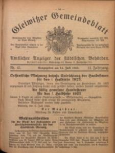 Gleiwitzer Gemeindeblatt, 1923, Jg. 14, Nr. 45