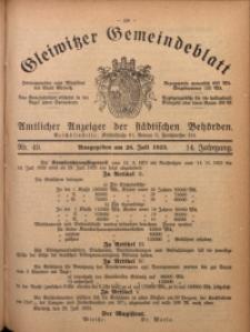Gleiwitzer Gemeindeblatt, 1923, Jg. 14, Nr. 49