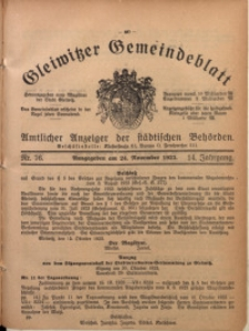 Gleiwitzer Gemeindeblatt, 1923, Jg. 14, Nr. 76