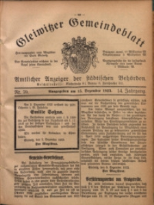 Gleiwitzer Gemeindeblatt, 1923, Jg. 14, Nr. 79