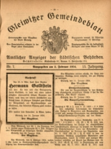 Gleiwitzer Gemeindeblatt, 1924, Jg. 15, Nr. 7