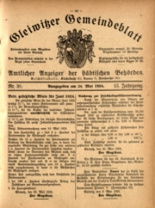 Gleiwitzer Gemeindeblatt, 1924, Jg. 15, Nr. 30