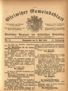 Gleiwitzer Gemeindeblatt, 1924, Jg. 15, Nr. 31