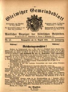 Gleiwitzer Gemeindeblatt, 1924, Jg. 15, Nr. 43