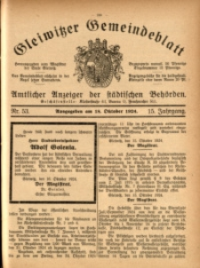 Gleiwitzer Gemeindeblatt, 1924, Jg. 15, Nr. 53
