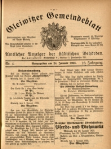 Gleiwitzer Gemeindeblatt, 1925, Jg. 16, Nr. 4