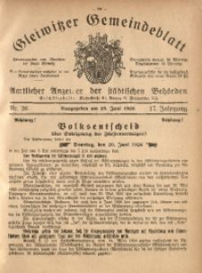 Gleiwitzer Gemeindeblatt, 1926, Jg. 17, Nr. 26