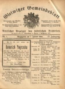 Gleiwitzer Gemeindeblatt, 1928, Jg. 19, Nr. 1