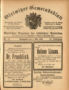 Gleiwitzer Gemeindeblatt, 1929, Jg. 20, Nr. 18