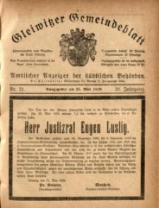 Gleiwitzer Gemeindeblatt, 1929, Jg. 20, Nr. 21