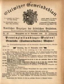 Gleiwitzer Gemeindeblatt, 1929, Jg. 20, Nr. 46