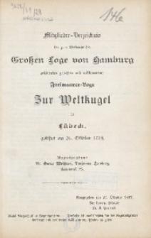 Mitglieder-Verzeichnis der zum Verbande der Grossen Loge von Hamburg gehörenden gerechten und vollkommenen Freimaurer-Loge Zur Weltkugel in Lübeck, gestiftet am 26. Oktober 1779