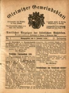 Gleiwitzer Gemeindeblatt, 1930, Jg. 21, Nr. 1