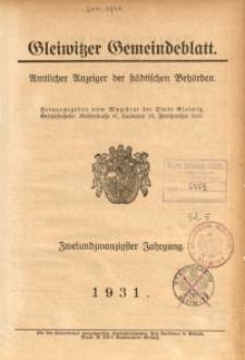 Gleiwitzer Gemeindeblatt, 1931, Inhalts-Verzeichnis des zweiundzwanzigsten Jahrganges (Nr. 1-54)