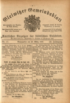 Gleiwitzer Gemeindeblatt, 1931, Jg. 22, Nr. 13