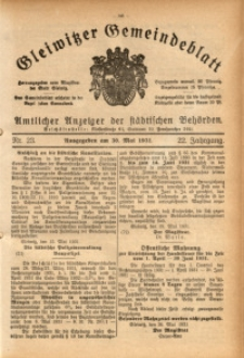 Gleiwitzer Gemeindeblatt, 1931, Jg. 22, Nr. 23
