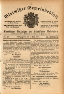 Gleiwitzer Gemeindeblatt, 1931, Jg. 22, Nr. 28