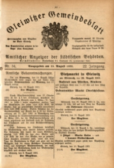 Gleiwitzer Gemeindeblatt, 1931, Jg. 22, Nr. 34