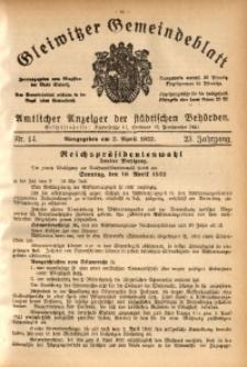 Gleiwitzer Gemeindeblatt, 1932, Jg. 23, St. 14