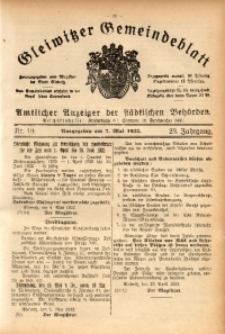 Gleiwitzer Gemeindeblatt, 1932, Jg. 23, St. 19