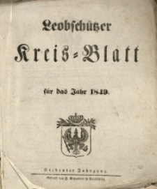 Leobschützer Kreisblatt, 1849, Jg. 7, St. 1