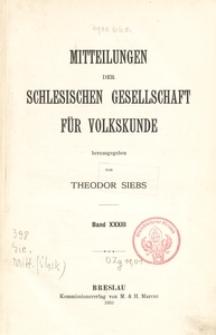 Mitteilungen der Schlesischen Gesellschaft für Volkskunde, Bd. 33 (1933)