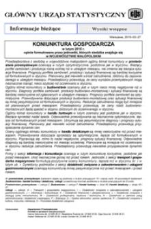 Koniunktura gospodarcza w lutym 2015 r. opinie formułowane przez jednostki, których siedziba znajduje się w województwkie małopolskim