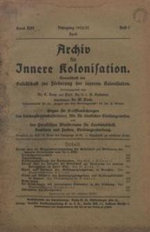 Archiv für Innere Kolonisation, 1920/1921, Bd. 13, H. 7