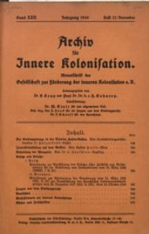 Archiv für Innere Kolonisation, 1930, Bd. 22, H. 11