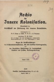 Archiv für Innere Kolonisation, 1929, Bd. 21, Inhaltsverzeichnis