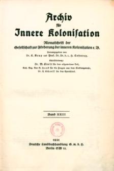 Archiv für Innere Kolonisation, 1931, Bd. 23, Inhaltsverzeichnis