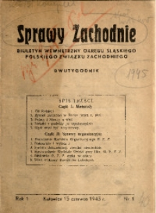 Sprawy Zachodnie, 1945, R. 1, nr 1