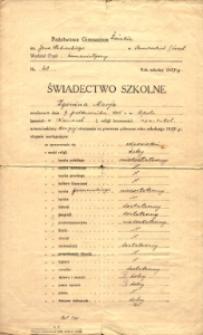 Świadectwo Szkolne Marii Zgoniny z Państwowego Gimnazjum Żeńskiego w Tarnowskich Górach z 1928 r.