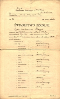 Świadectwo szkolne Marii Zgoniny z Miejskiego Gimnazjum Żeńskiego w Mikołowie z 1931 r.