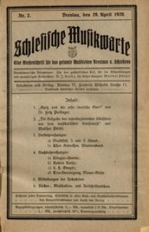 Schlesische Musikwarte, 1920, Nr. 2