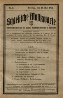 Schlesische Musikwarte, 1920, Nr. 6