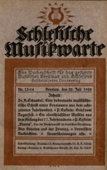 Schlesische Musikwarte, 1920, Nr. 13/14