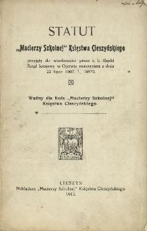 """Statut """"Macierzy Szkolnej"""" Księstwa Cieszyńskiego, 1911"""